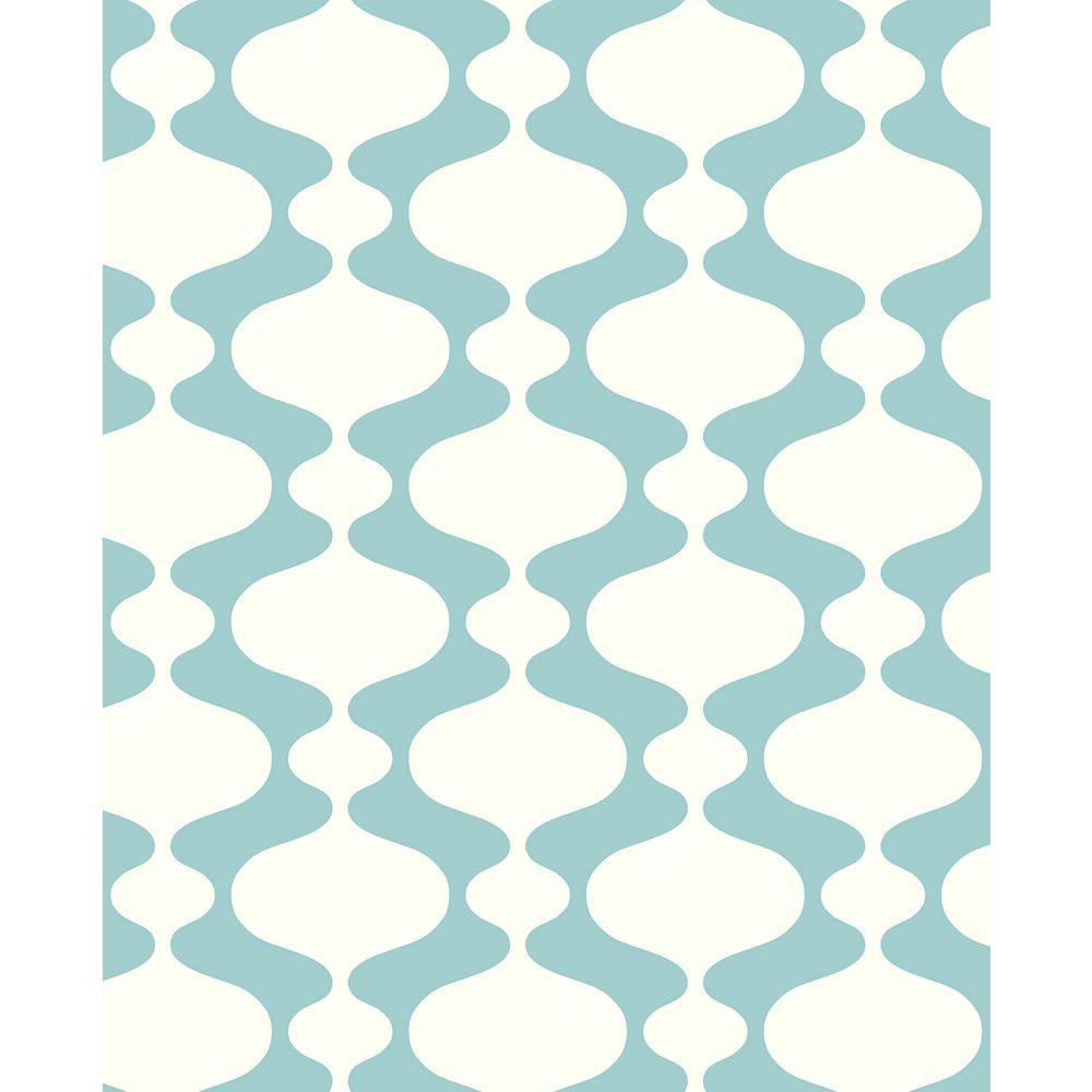 56.4 sq. ft. Emilio Turquoise Retro Wallpaper