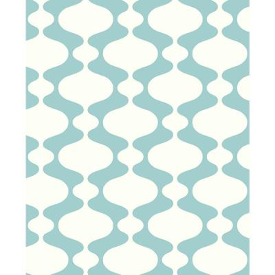 8 in. x 10 in. Emilio Turquoise Retro Wallpaper Sample