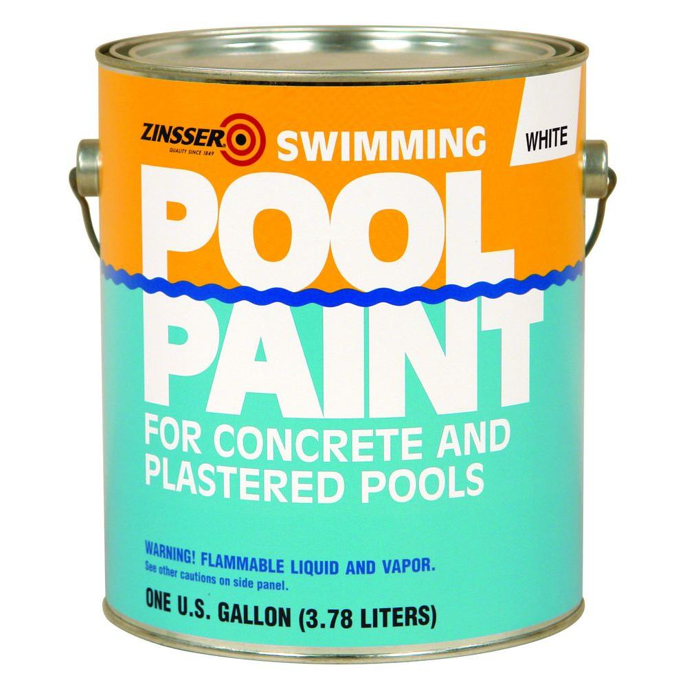 Zinsser 1 Gal White Flat Oil Based Swimming Pool Paint Case Of 4 260538 The Home Depot