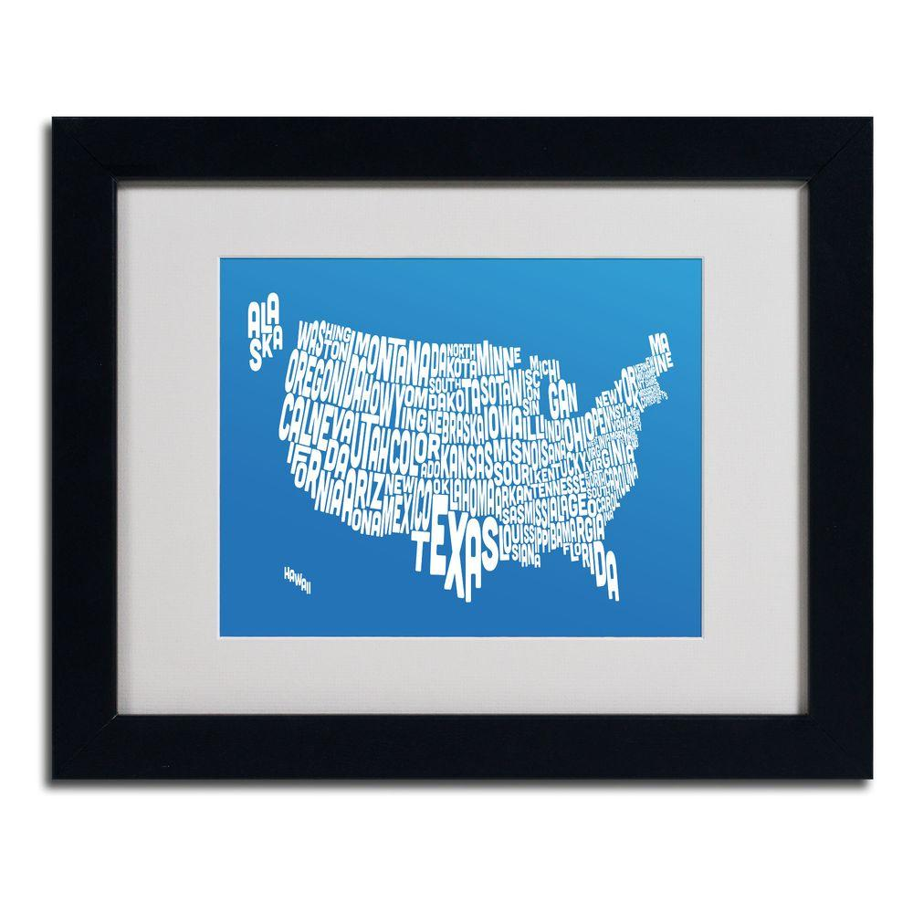 null 11 in. x 14 in. USA States Text Map - Summer Matted Framed Art