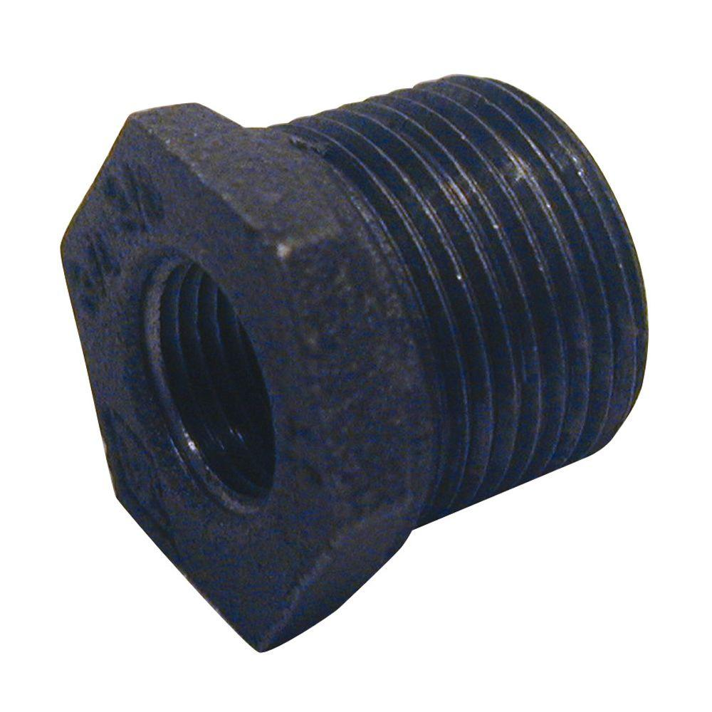 1-1/2 in. x 1/2 in. Black Malleable Iron Hex Bushing