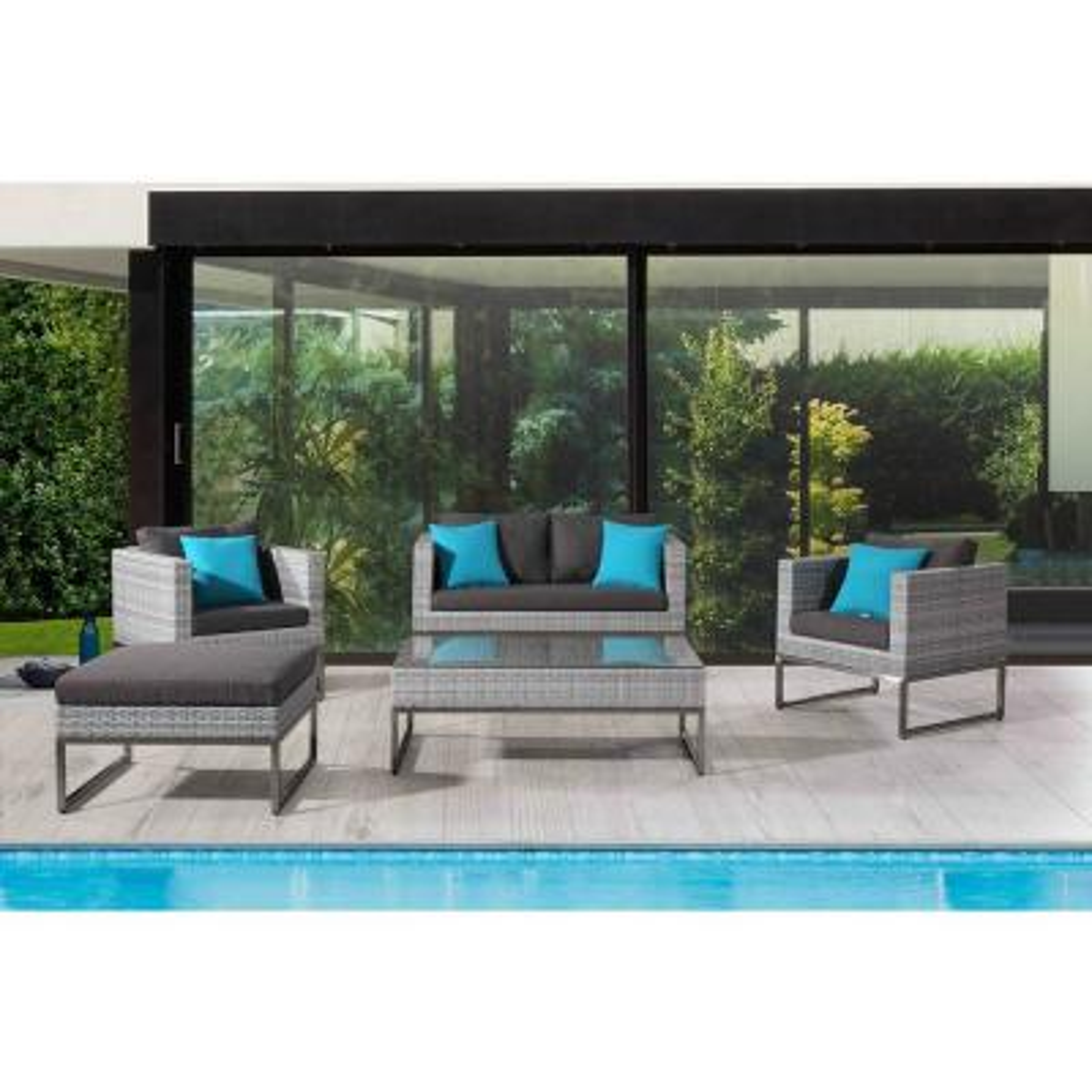 Capriasca 5-Piece Outdoor Gray Wicker Patio Conversation Set with Gray Cushions