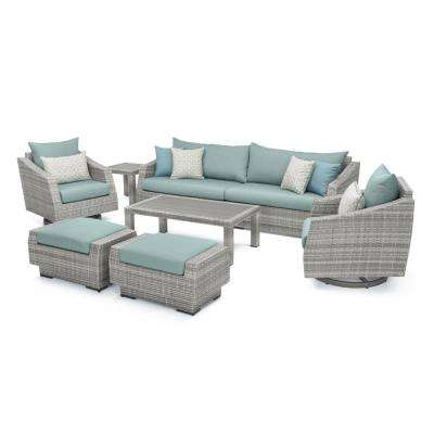 Cannes 8-Piece Motion Wicker Patio Deep Seating Conversation Set with Sunbrella Spa Blue Cushions