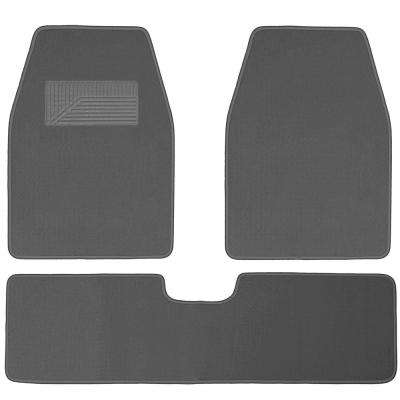 Solid Charcoal 3-Piece 26.5 in. x  19.3 in. Floor Mats