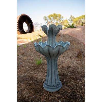 24 in. Tall Grey 2-Tier Pedestal Fountain