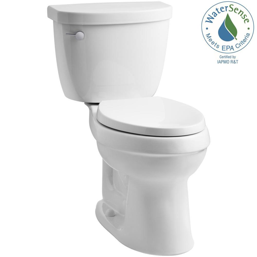 KOHLER Cimarron 2-piece 1.28 GPF High Efficiency Elongated Toilet with AquaPiston Flushing Technology in White