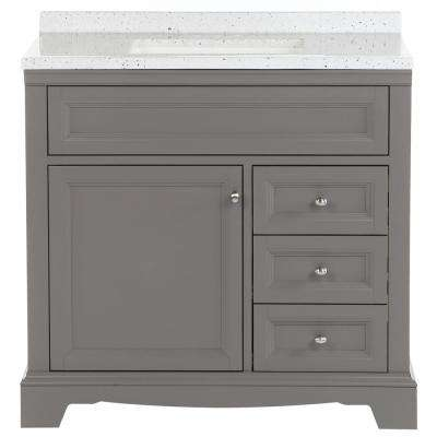 Windsor Park 37 in. W Bathroom Vanity in Taupe Gray with Solid Surface Vanity Top in Silver Ash with White Sink