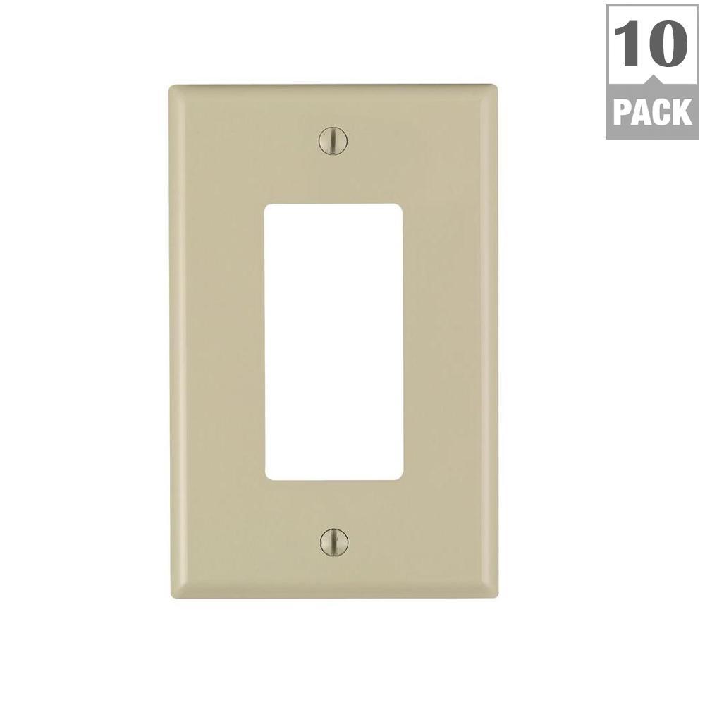 Leviton Decora 1-Gang Midway Nylon Wall Plate, Ivory (10-Pack)-M51 ...