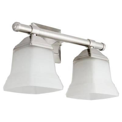 14 in. 2-Light Brushed Nickel Bath Vanity Light Fixture with Bell Shaped Frosted Glass Shade