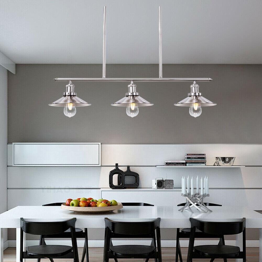 3-Lights Brushed Nickel Kitchen Island Light Fixtures