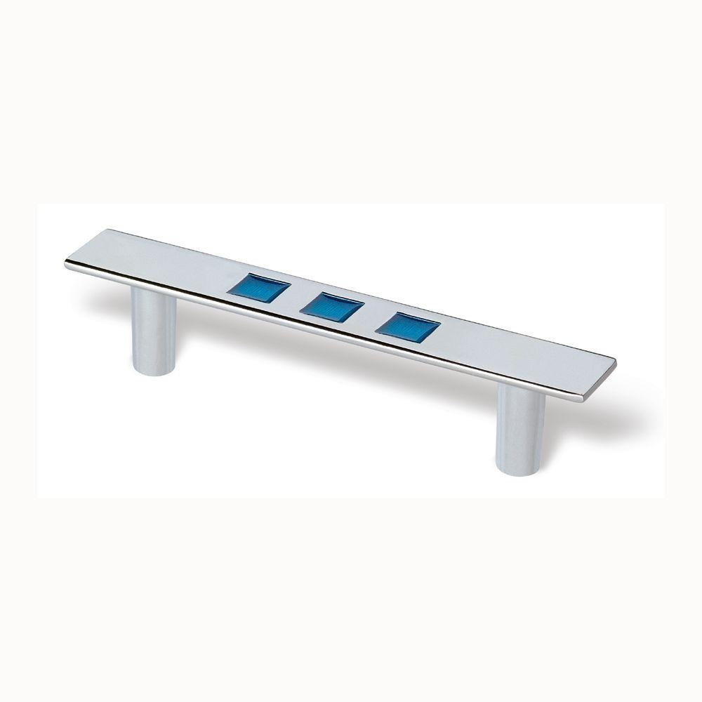 Siro Designs Rio Bright Chrome And Blue 96mm Center-to-Center Pull