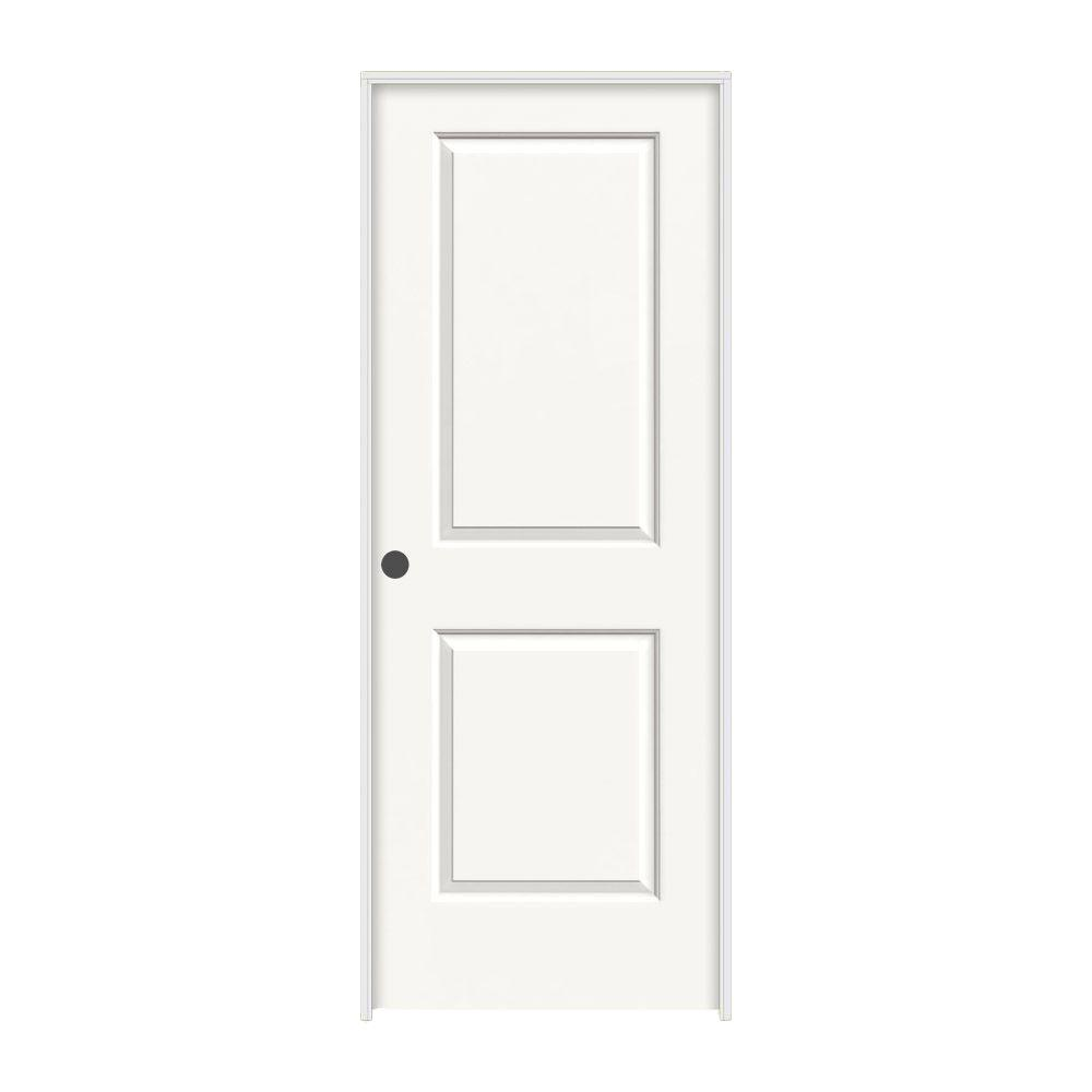 30 in. x 80 in. Cambridge White Painted Right-Hand Smooth Molded