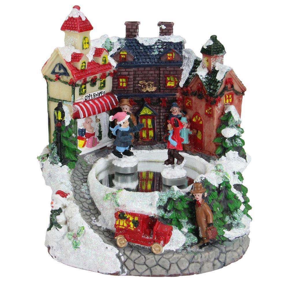 Northlight 6 5 in  Animated Victorian Street Gift Shoppe Winter Scene  Rotating Christmas Music Box