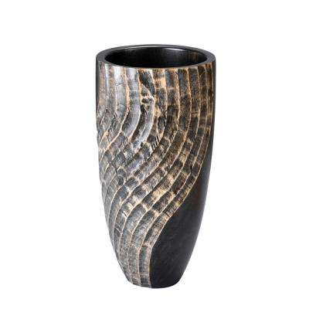 12 in. Black Tall Handmade Decorative Round Mango Wood Swirl Vase