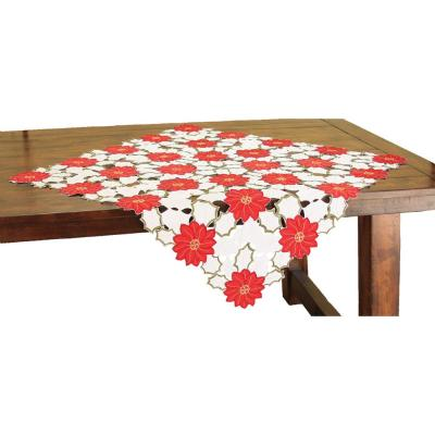 Xia Home Fashions 34 In X 34 In Holiday Poinsettia Embroidered Cutwork Table Topper Xd130243434 The Home Depot