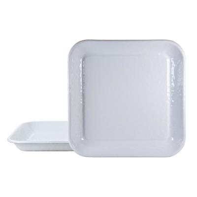 10.5 in. Solid White Enamelware Square Plates (Set of 2)