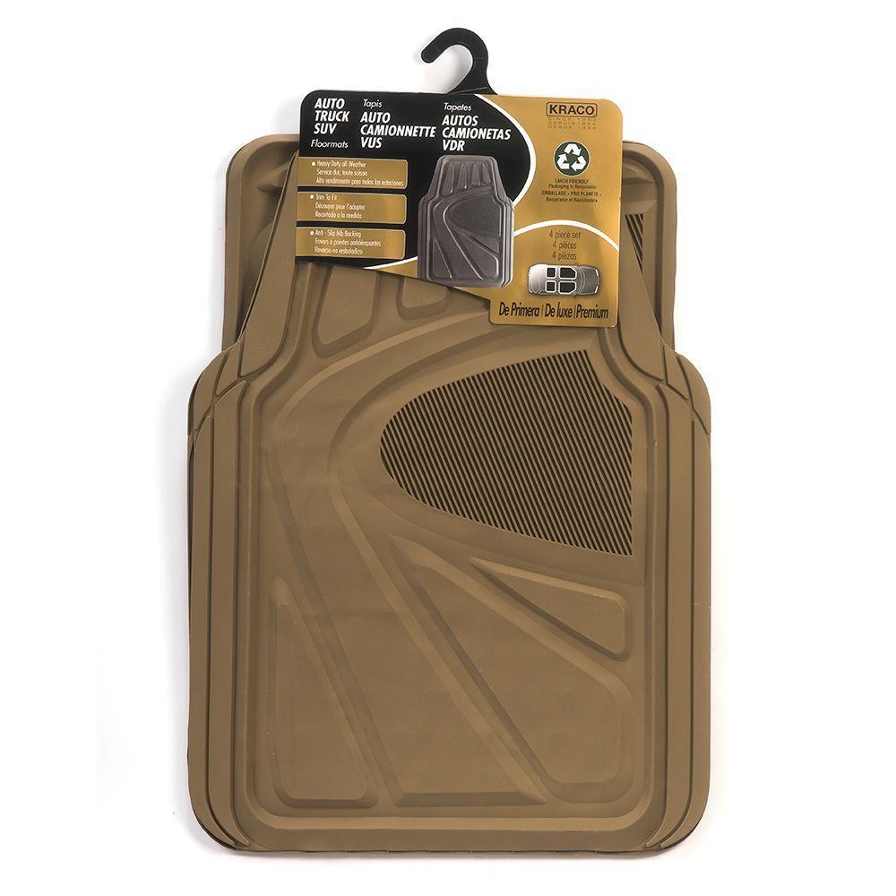 Kraco Tan Trimmable Rubber Floor Mat Set 4 Piece