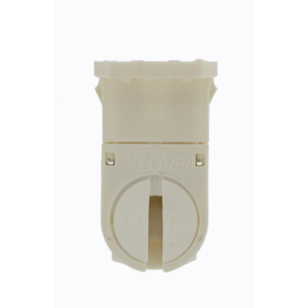 Leviton 120W Tall Profile Miniature Base T-5 Bi-Pin Snap-In/Slide-On Lamp-Lock Linear Fluorescent Lampholder, White