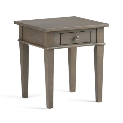 Carlton Solid Wood 18 in. Wide Square Contemporary End Side Table in Farmhouse Grey