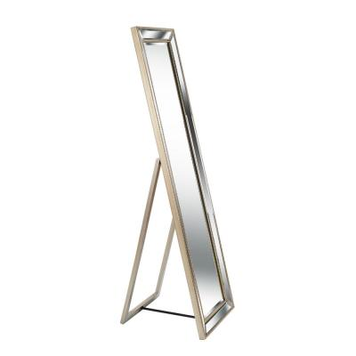 Oversized Silver Wood Beveled Glass Glam Mirror (64 in. H X 18 in. W)