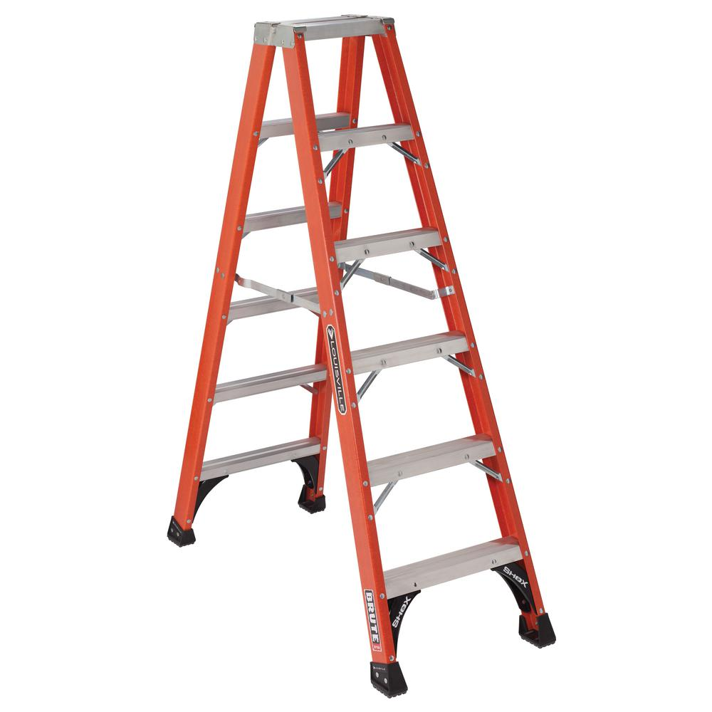 6 ft. Fiberglass Twin Step Ladder with 375 lbs. Load Capacity