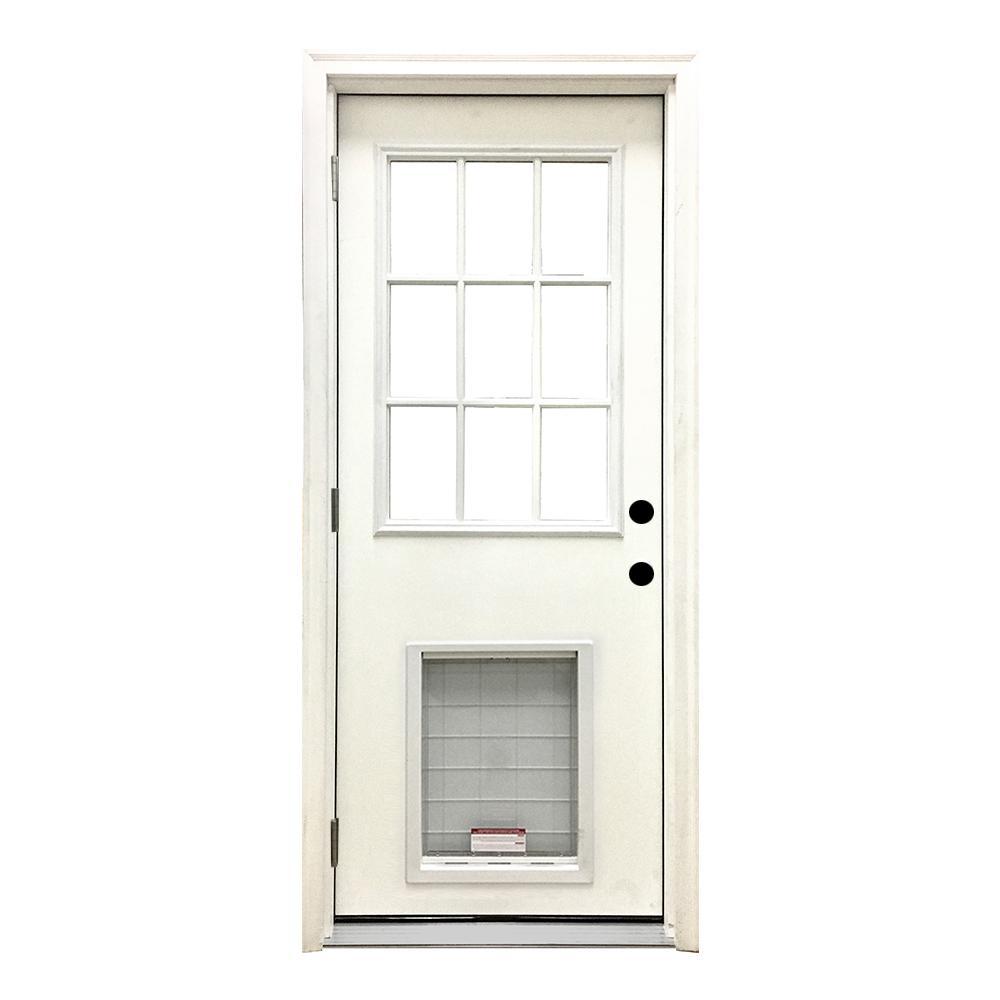 32 in. x 80 in. Classic Clear 9 Lite RHOS White Primed Fiberglass Prehung Front Door with SL Pet Door