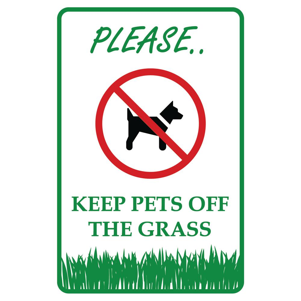 Promodor 12 in. x 8 in. Keep Pets Dogs Off the Grass Plastic Sign