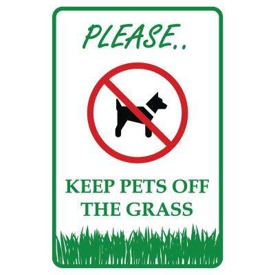 12 in. x 8 in. Keep Pets Dogs Off the Grass Plastic Sign
