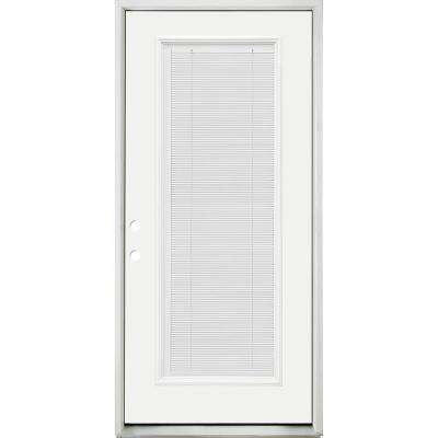 36 in. x 80 in. Reliant Clear Full Lite RHIS White Micro-Blind White Primed Fiberglass Prehung Front Door Nickel Hinges