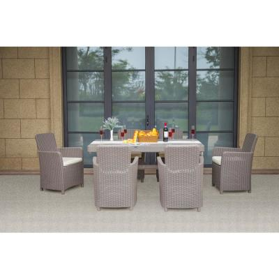 Grey 7-Piece Plastic Outdoor Dining Set with Luxury Beige Cushions
