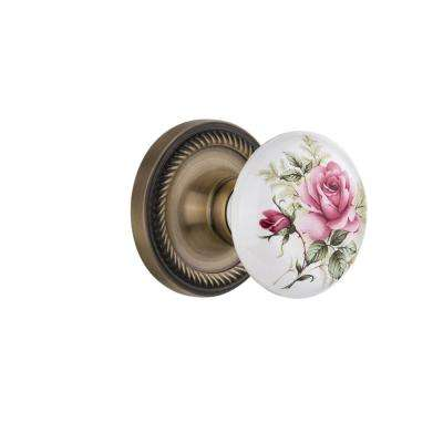 Rope Rosette 2-3/8 in. Backset Antique Brass Passage White Rose Porcelain Door Knob