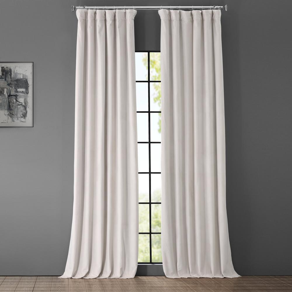 Blackout Signature Porcelain White Blackout Velvet Curtain - 50 in. W x 96 in. L (1 Panel)