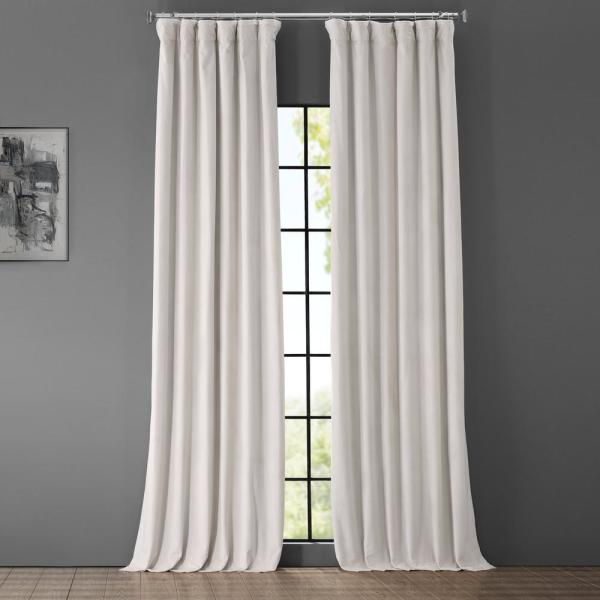 Blackout Signature Porcelain White Blackout Velvet Curtain - 50 in. W x 96 in. L (1 Panel)