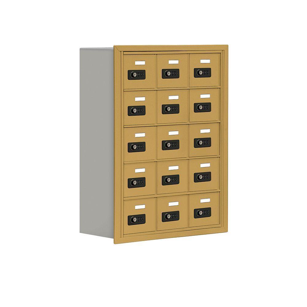 19000 Series 24 in. W x 31 in. H x 8.75 in. D 15 A Doors R-Mount Resettable Locks Cell Phone Locker in Gold