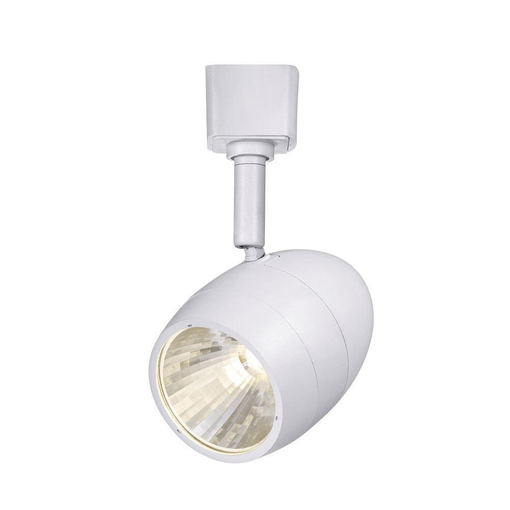 1-Light White Integrated LED Linear Round Back Track Lighting Head