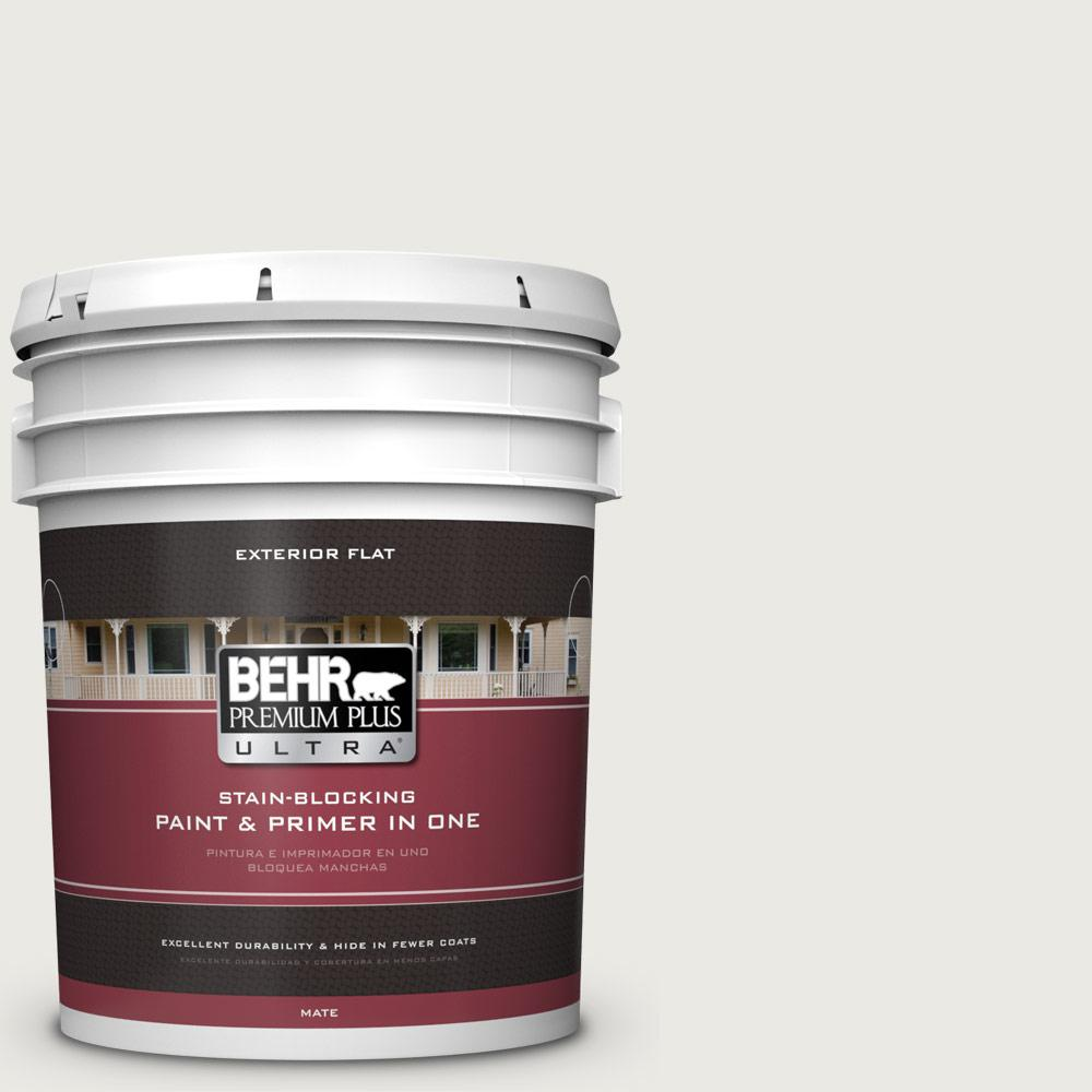 5 gal. #PPU24-14 White Moderne Flat Exterior Paint