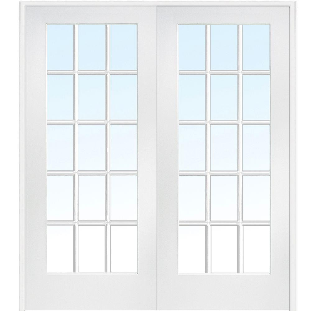 MMI Door 72 in. x 84 in. Both Active Primed Composite Glass Clear Glass 15 Lite True Divided Prehung Interior French Door