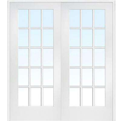 72 in. x 84 in. Both Active Primed Composite Glass Clear Glass 15 Lite True Divided Prehung Interior French Door