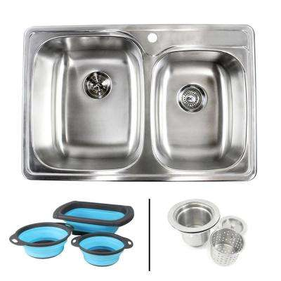Topmount Drop-In 18G Stainless Steel 33-1/8 in. 1 Hole 60/40 Double Bowl Kitchen Sink w/ Collapsible Silicone Colanders