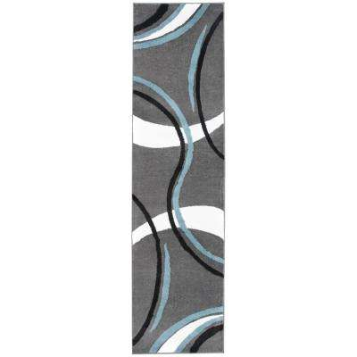 Contemporary Wavy Circles Gray 2 ft. x 7 ft. 2 in. Indoor Runner Rug
