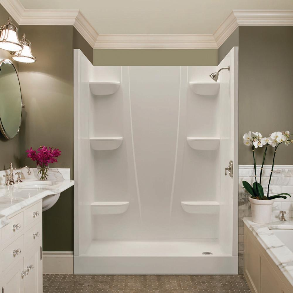 Aquatic A2 5 in. x 23 in. x 74 in. 2-piece Direct-to-Stud Shower Wall Panels in White
