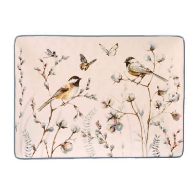 Country Weekend Multi-Colored 14.25 in. x 10.5 in. Ceramic Rectangular Platter