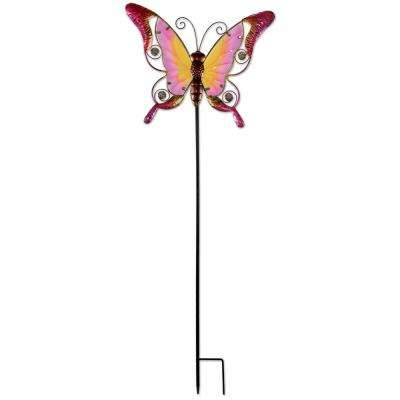 38 in. Pink Butterfly Spring Stake