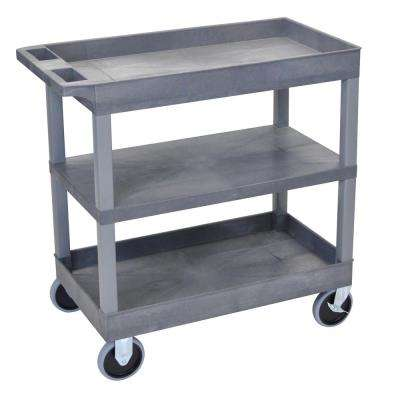 EC 35.25 in. W x 18 in. D x 37.25 in. H 3-Shelf Utility Cart with 5 in. Casters in Gray