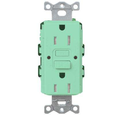 Satin Colors 15-Amp Tamper-Resistant GFCI Duplex Receptacle - Sea Glass