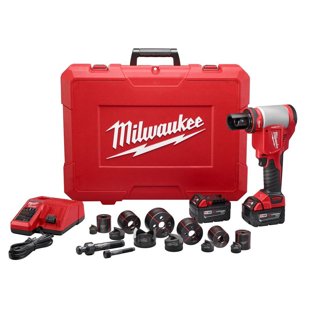Milwaukee M18 18-Volt Lithium-Ion Cordless 1/2 in. - 2 in. Force Logic High Capacity Knockout Kit