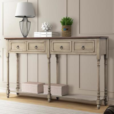 Antique Grey Rectangular Console Table with Drawers and Shelf