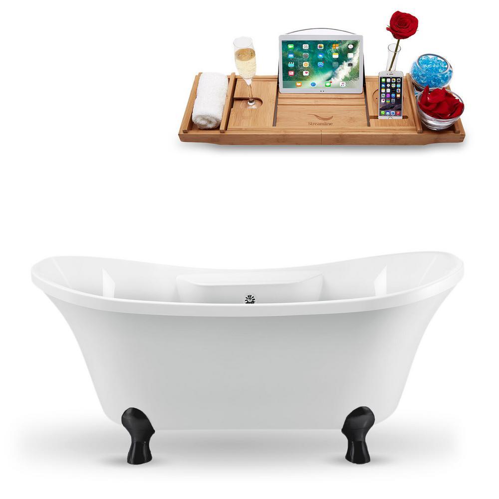 60 in. Acrylic Fiberglass Clawfoot Non-Whirlpool Bathtub in White