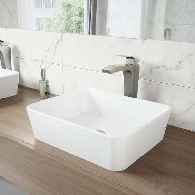 Marigold White Matte StoneTM Vessel Bathroom Sink and Blackstonian Bathroom Vessel Faucet in Brushed Nickel