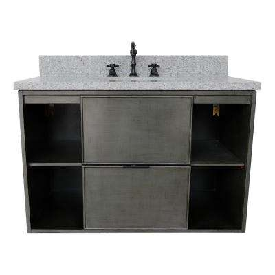 Scandi III 37 in. W x 22 in. D Wall Mount Bath Vanity in Gray with Granite Vanity Top in Gray with White Oval Basin